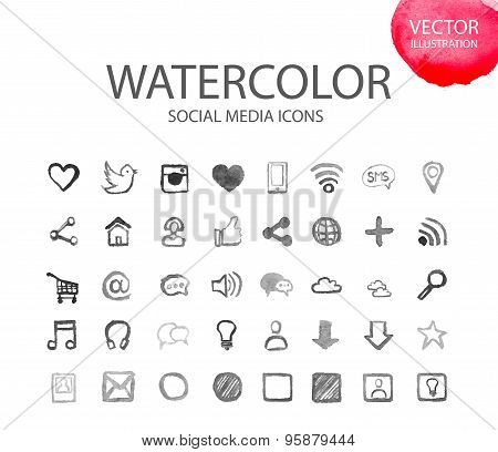 Social media  symbols. Watercolor icon