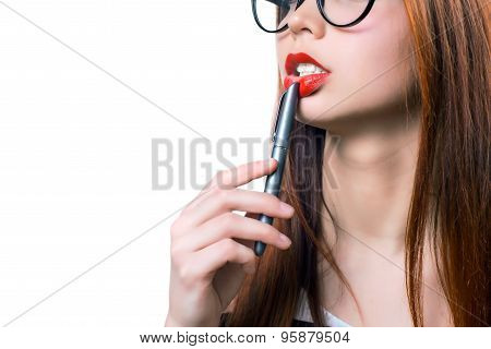 Sexy businesswoman teacher student woman girl holding a pen in her mouth red lipstick lipgloss makeu