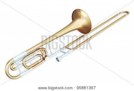 3D Illustration Of Trombone