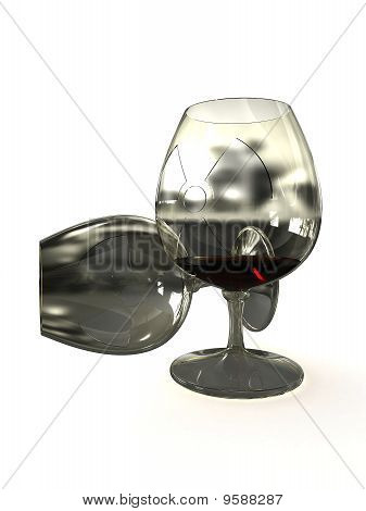 Glass Of Liquid Radioactive Isolated On White Background