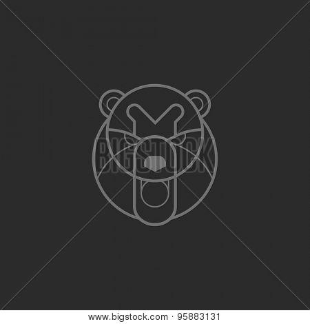 Vintage bear face Line art logotype emblem symbol. Can be used for labels, badges, stickers, logos vector illustration.