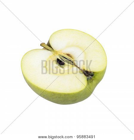 Yellow Renetta Apple Half On White Background