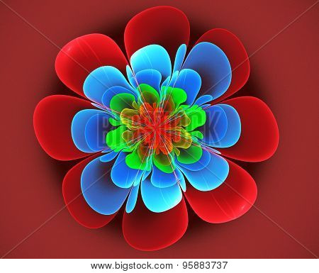 Fractal Illustration Of A Bright Flower On A Red Background