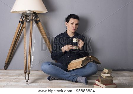 Girl With A Book And Coffee