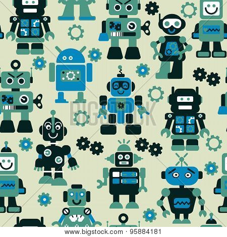 Robots Color Seamless Pattern.