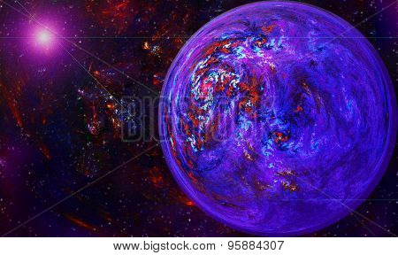 Fracta Globe With A Vortex In Space Against A Background Of Star