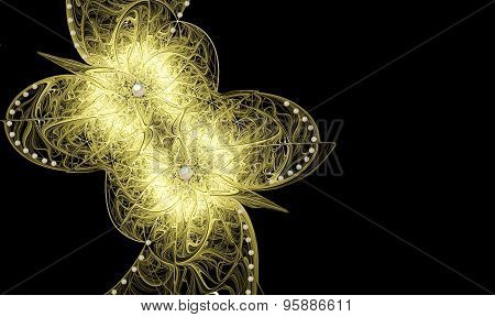 Illustration Background With Delicate Gold Flowers And Copy Spa