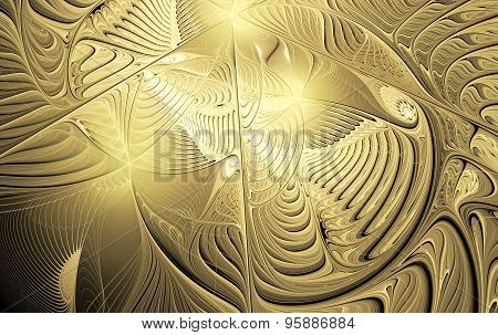 Illustration Background With Shiny Gold Carvings