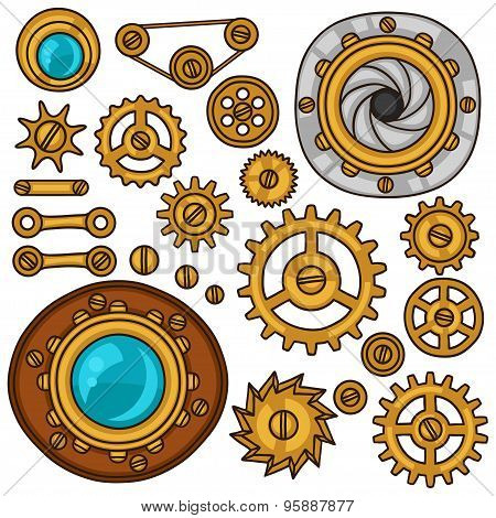 Set of steampunk gears, screws and cogwheels in doodle style