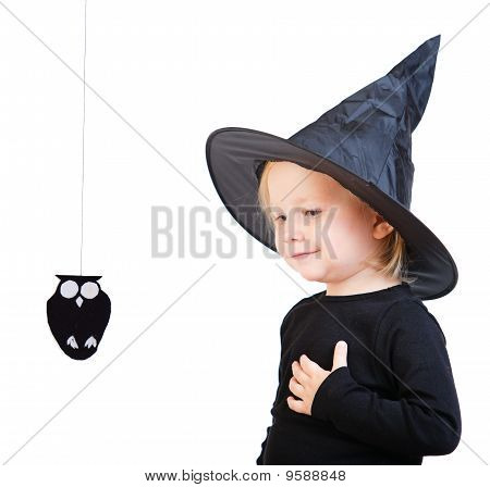 Toddler Girl In Black Little Witch Costume
