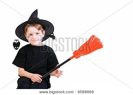Halloween Studio Portrait Of Cute Boy