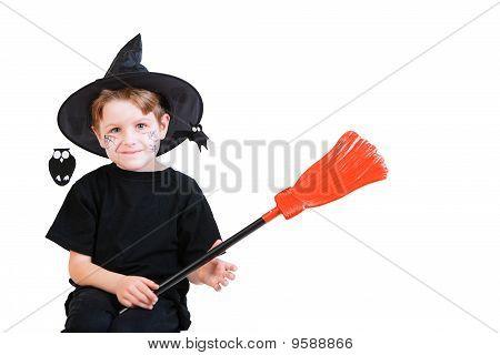 Halloween Studio Portrait Of Cute Boy