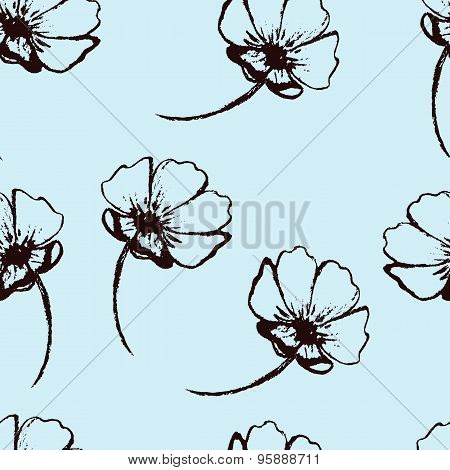 Vintage vector seamless pattern with hand-drawn flowers
