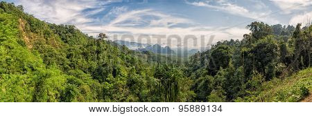 Panorama of Kao Sok Lush Forests from a viewpoint with mountains in the background
