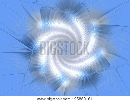 White And Blue Fractal Star