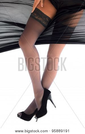 Woman Posing In Shoes And Stockings