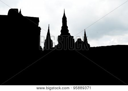Silhouette of temple in Sukhothai historical park,Thailand