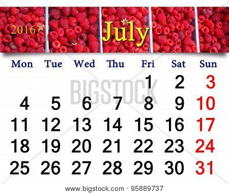 Calendar For July 2016 With Redraspberry