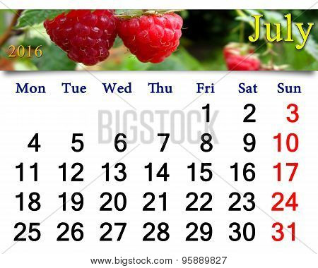 Calendar For July 2016 With Image Of Redraspberry