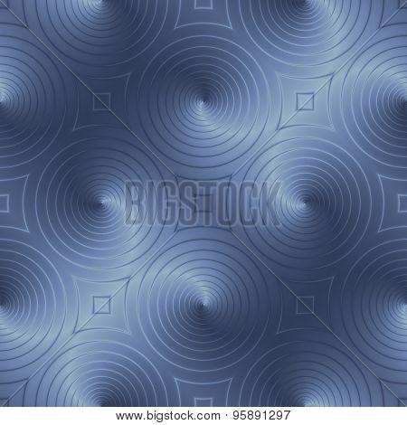 Blue Circular Shapes Creates An Interesting Effect Pattern. Optical Illusion.