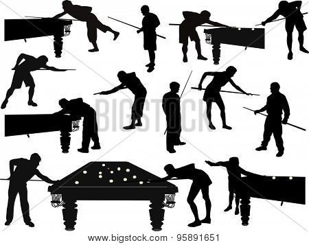 illustration with men playing billiards isolated on white background