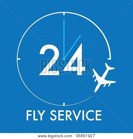 Vector Modern Minimalistic Airplane And Watch Logo With Blue Backgound