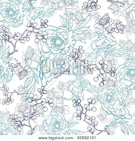 Vector Blue Japanese Floral Kimono Line Art Seamless Pattern