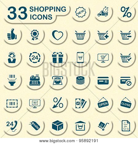 Online shopping and e-commerce icons set