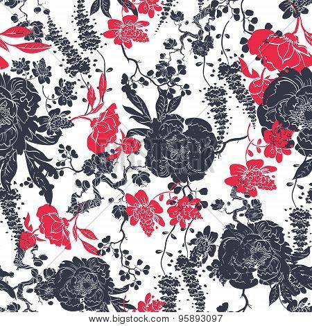 Vector Charcoal Red Kimono Flowers Seamless Pattern
