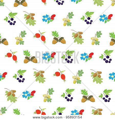 Vector Colorful Autumn Berries Nuts Seamless Pattern