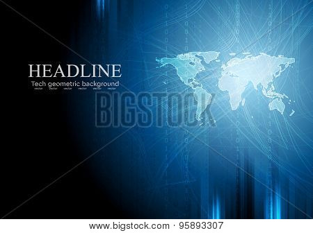 Dark blue tech background with binary system code and world map. Vector design