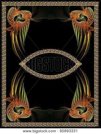 Fractal Illustration Background Antique Vintage Style With Gold