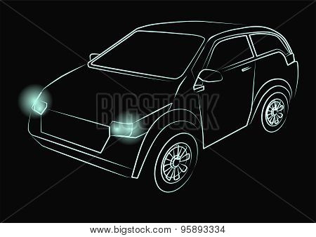 Green Neon Car