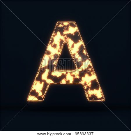 Glass Glowing Fire Letter A Symbol