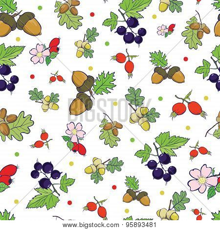 Vector Forest Berries Nuts Seamless Pattern