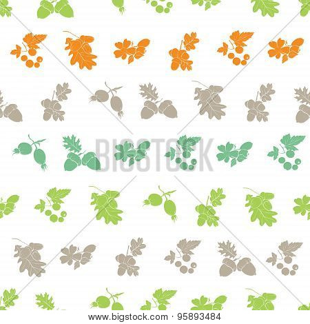 Vector Forest Berries Nuts Silhouettes Seamless Pattern