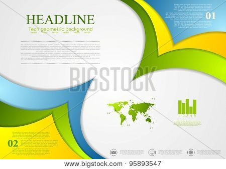 Bright corporate abstract contrast wavy background. Vector design