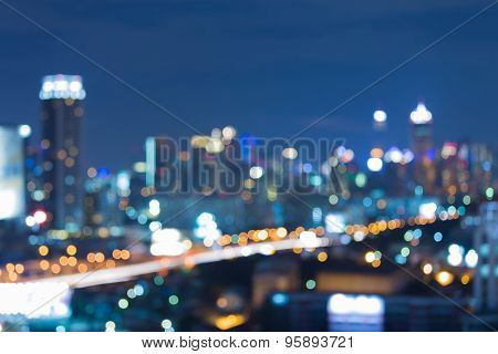 Bangkok city blurred bokeh lights at twilight