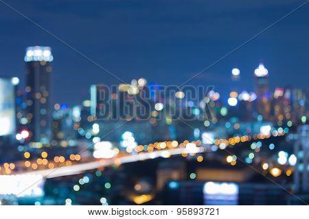 Bangkok city blurred bokeh lights at twilight