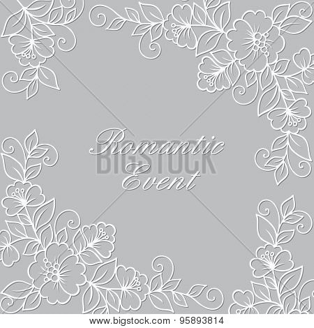 Flower ornament frame. Ornamental flower background with flowers.