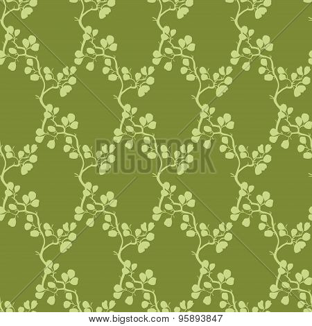 Vector Moss Green Kimono Branches Silhouette Seamless Pattern