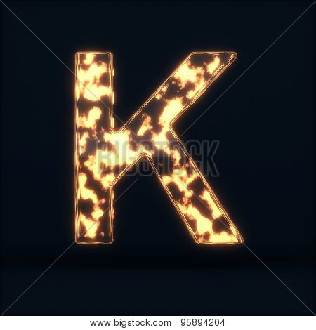 Glass Glowing Fire Letter K Symbol