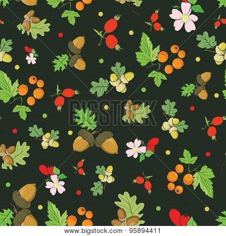 Vector Vintage Fall Berries Nuts on Dark Green Seamless Pattern