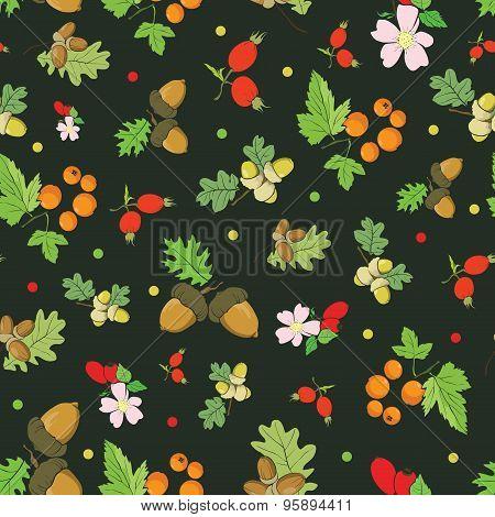 Vector Vintage Fall Berries Nuts on Dark Green Seamless Pattern