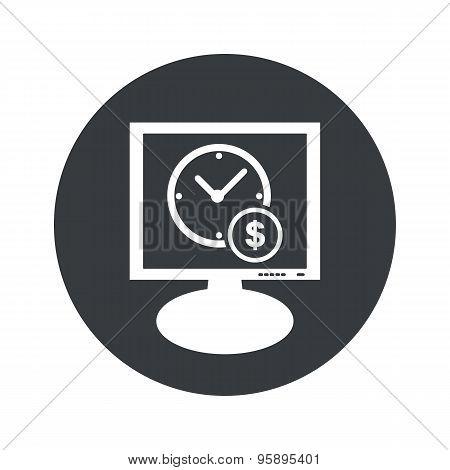 Round time money monitor icon