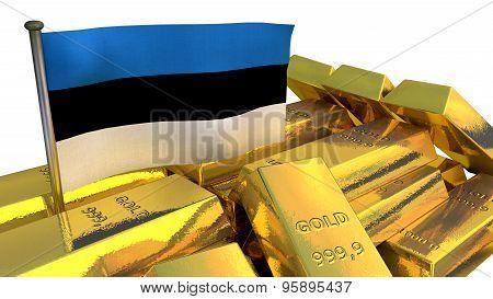Estonian economy concept with gold bullion
