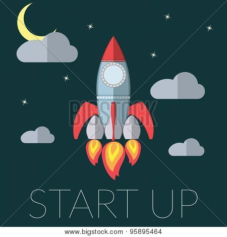 Flat Design Modern Vector Illustration Of A Rocket Concept For New Business Project Startup, Launchi