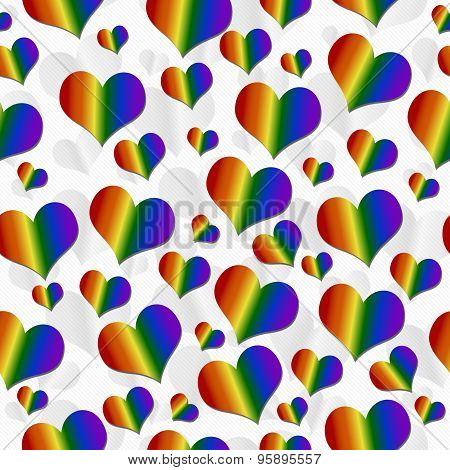 Lgbt Pride Colored Hearts Over White Tile Pattern Repeat Background