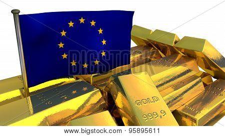 European Union economy concept with gold bullion