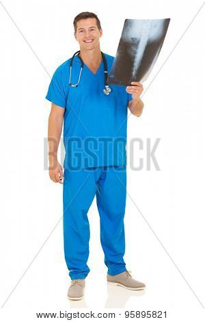full length portrait of male medical nurse holding patient's x-ray